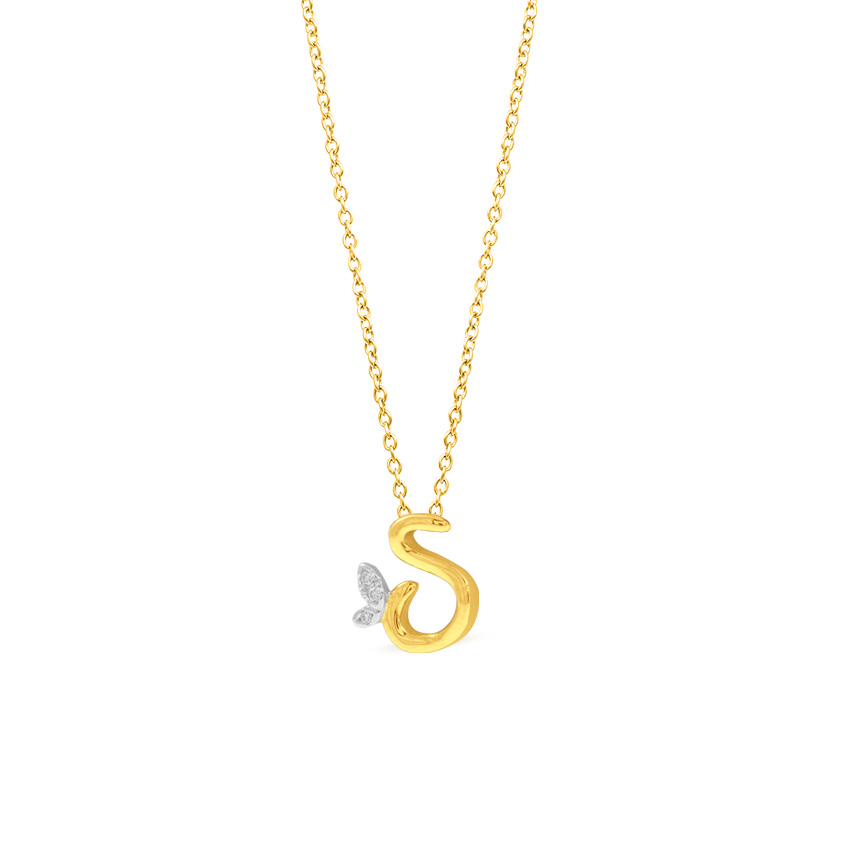 Leafy Alphabet S Necklace