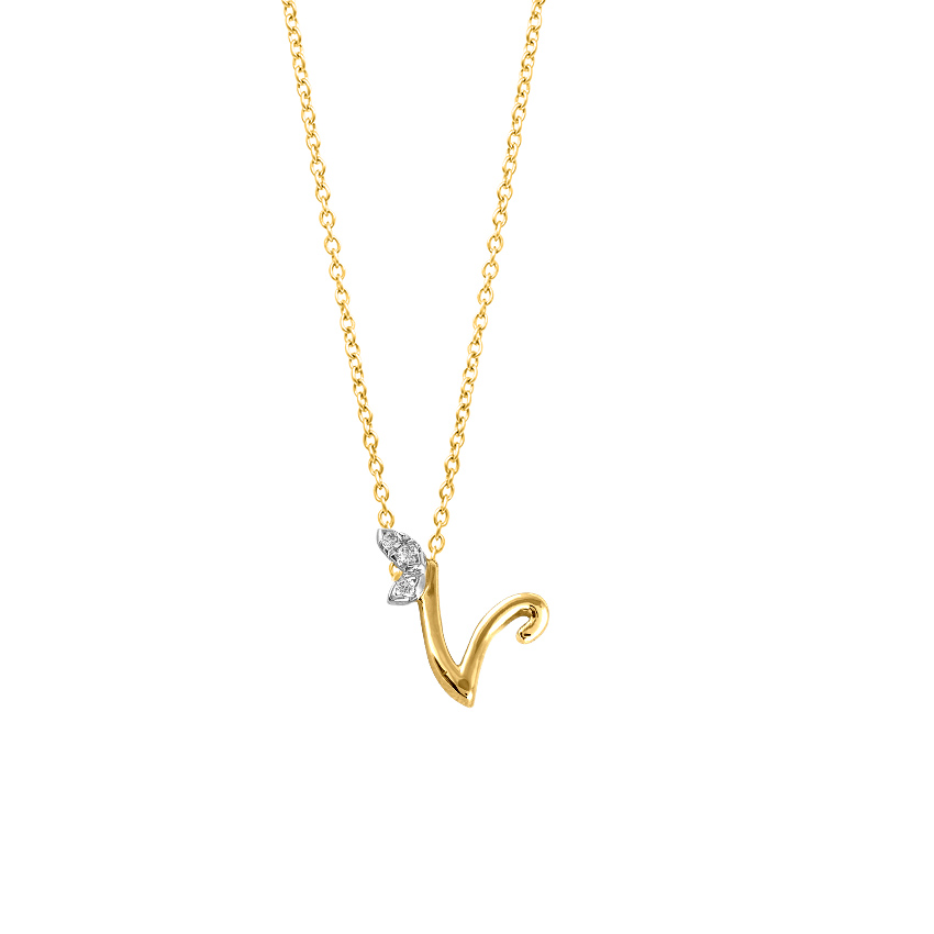 Diamond Necklaces 14 Karat Yellow Gold Leafy Alphabet V Necklace