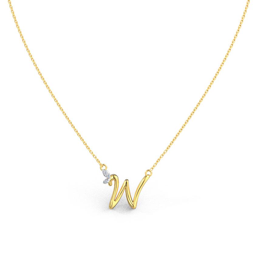 Diamond Necklaces 14 Karat Rose Gold Leafy Alphabet W Diamond Necklace