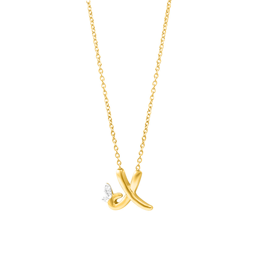 Leafy Alphabet X Necklace