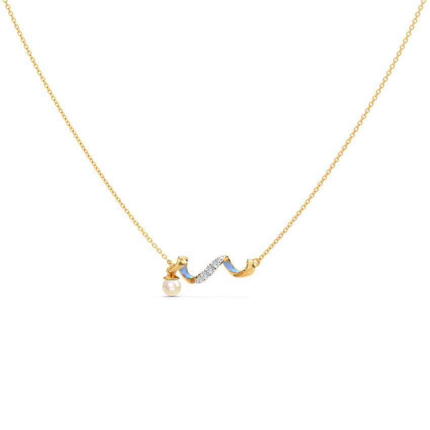 Diamond,Gemstone Necklaces 14 Karat Yellow Gold Azure Twirl Gemstone Necklace