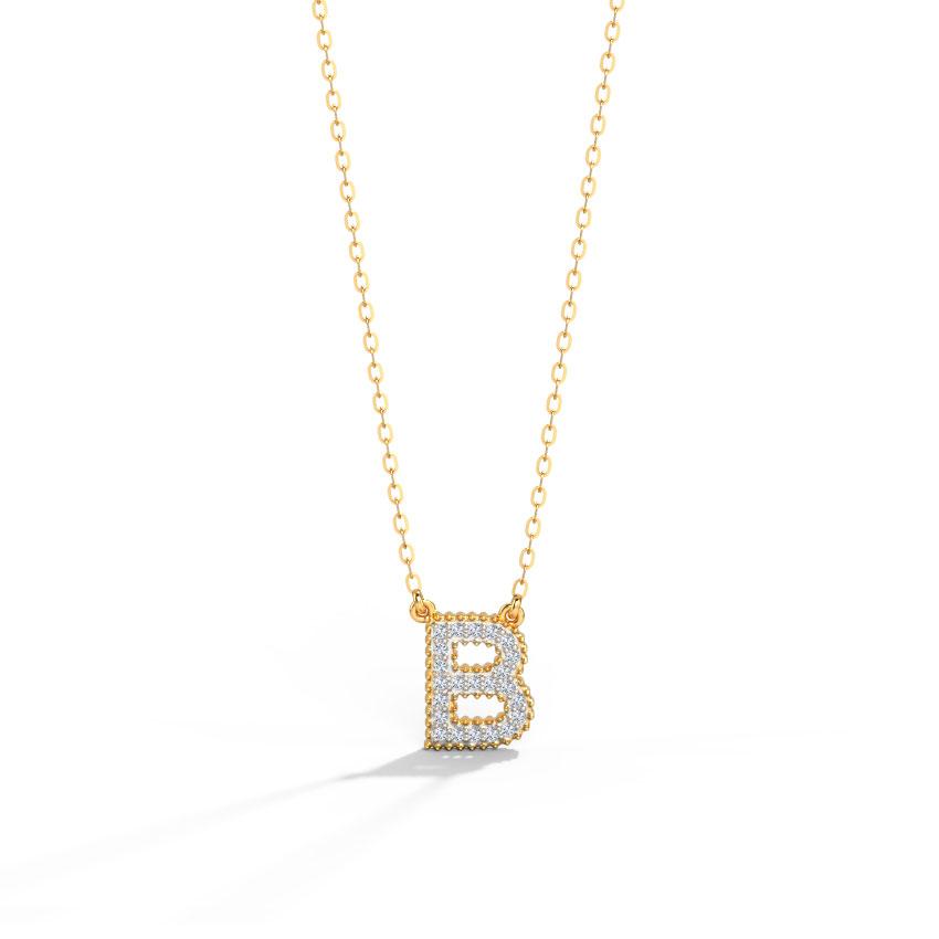 Diamond Necklaces 14 Karat Yellow Gold Dazzle Alphabet B Diamond Necklace
