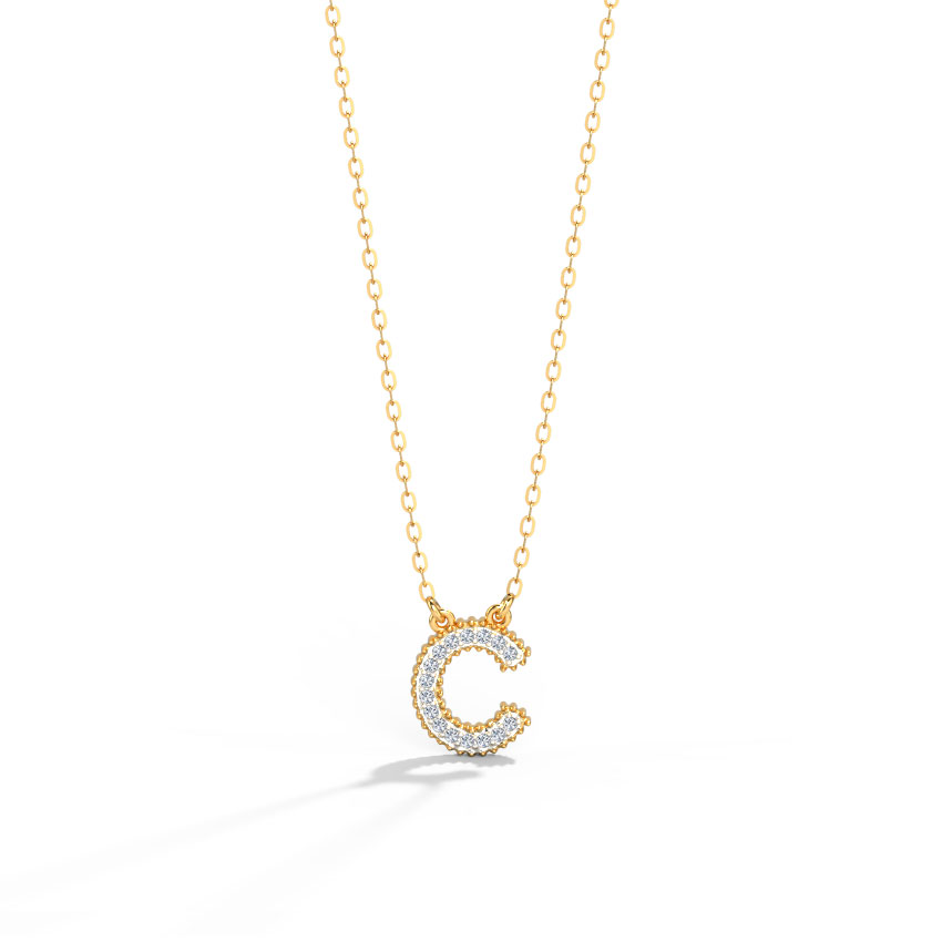 Diamond Necklaces 14 Karat Rose Gold Dazzle Alphabet C Diamond Necklace