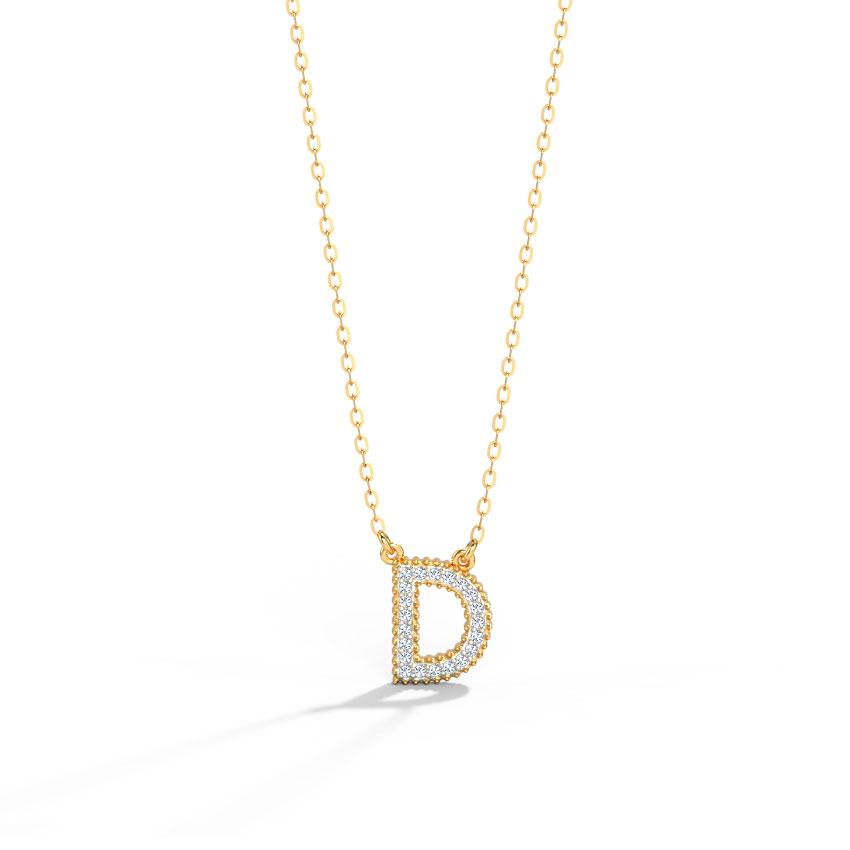 Diamond Necklaces 14 Karat Rose Gold Dazzle Alphabet D Diamond Necklace