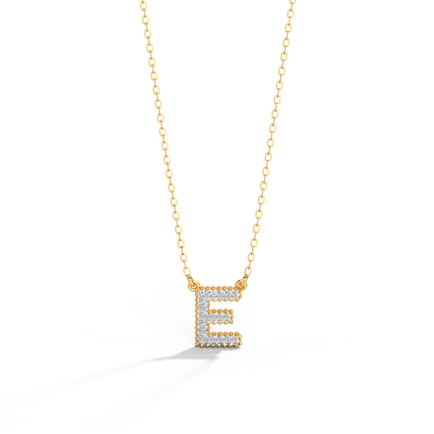 Diamond Necklaces 14 Karat Yellow Gold Dazzle Alphabet E Diamond Necklace
