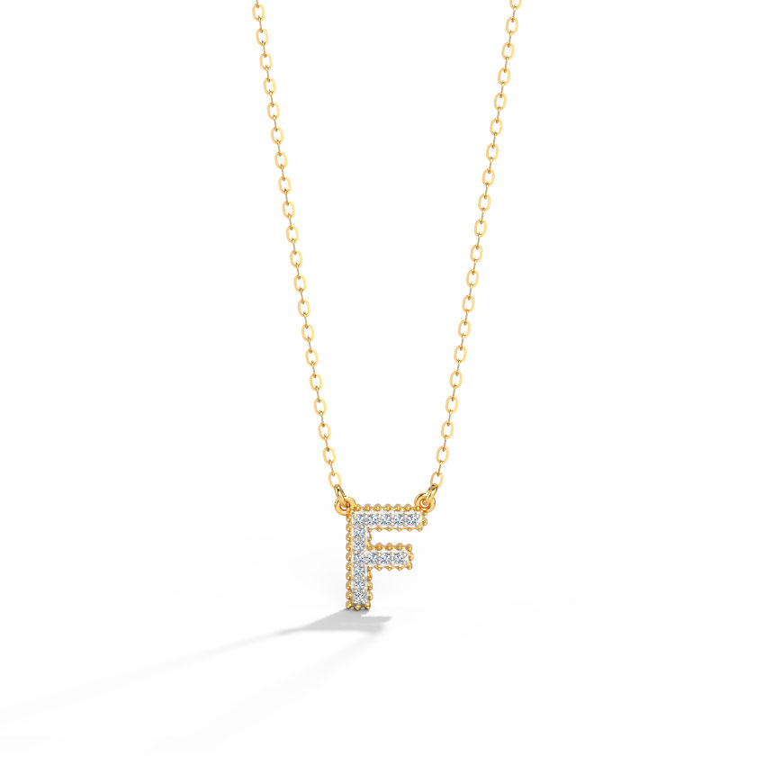 Diamond Necklaces 14 Karat Rose Gold Dazzle Alphabet F Diamond Necklace