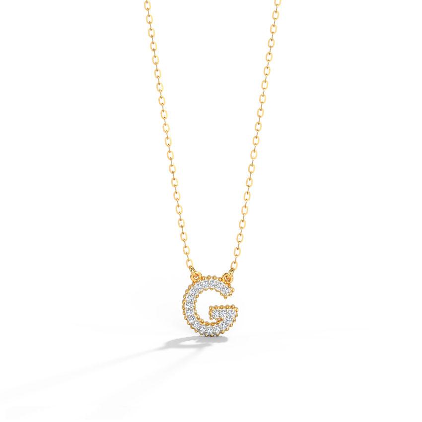Diamond Necklaces 14 Karat Rose Gold Dazzle Alphabet G Diamond Necklace