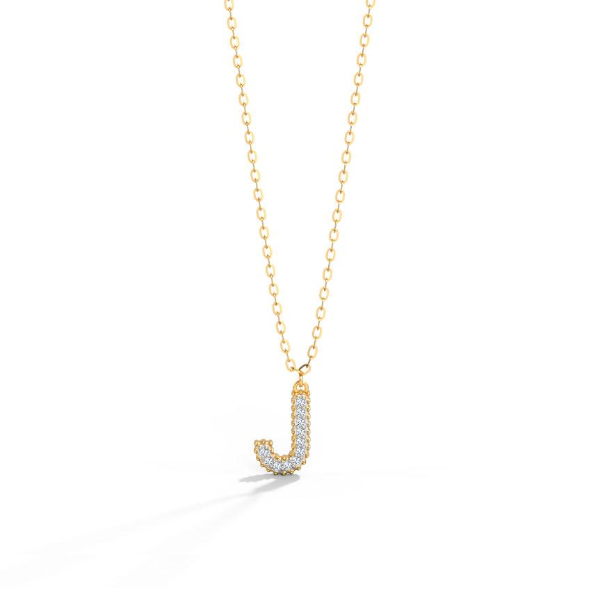 Diamond Necklaces 14 Karat Yellow Gold Dazzle Alphabet J Diamond Necklace