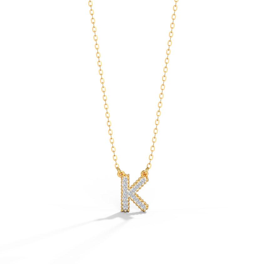 Dazzle Alphabet K Necklace
