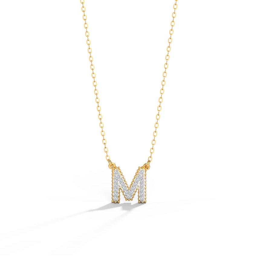Dazzle Alphabet M Necklace