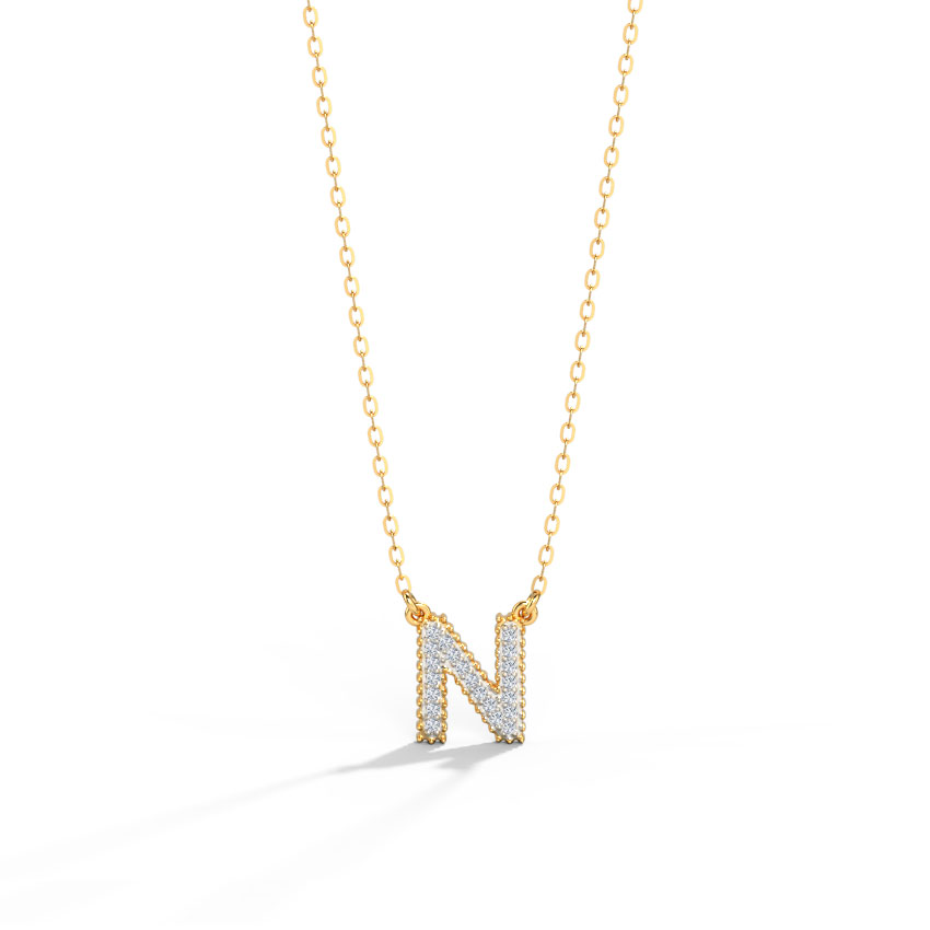 Diamond Necklaces 14 Karat Rose Gold Dazzle Alphabet N Diamond Necklace