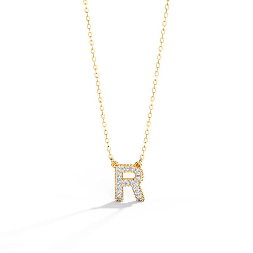 Diamond Necklaces 14 Karat Yellow Gold Dazzle Alphabet R Diamond Necklace