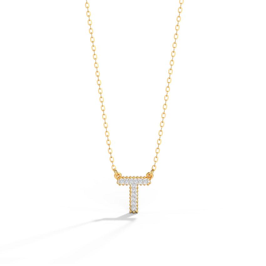 Dazzle Alphabet T Necklace