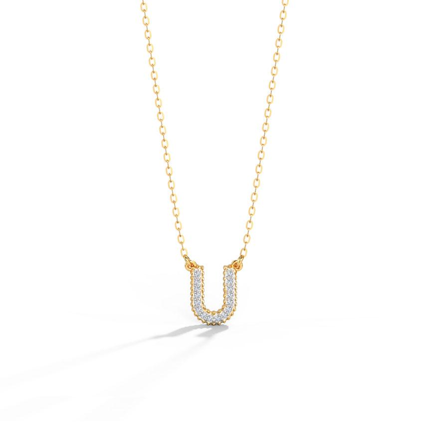 Diamond Necklaces 14 Karat Yellow Gold Dazzle Alphabet U Diamond Necklace
