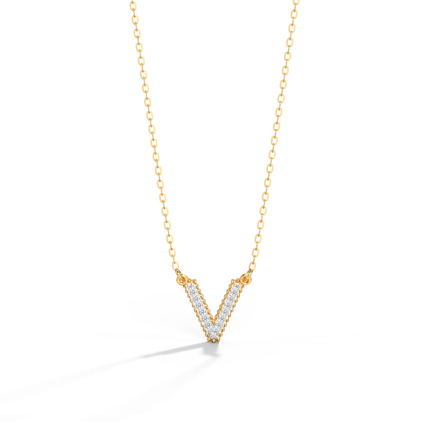 Dazzle Alphabet V Necklace