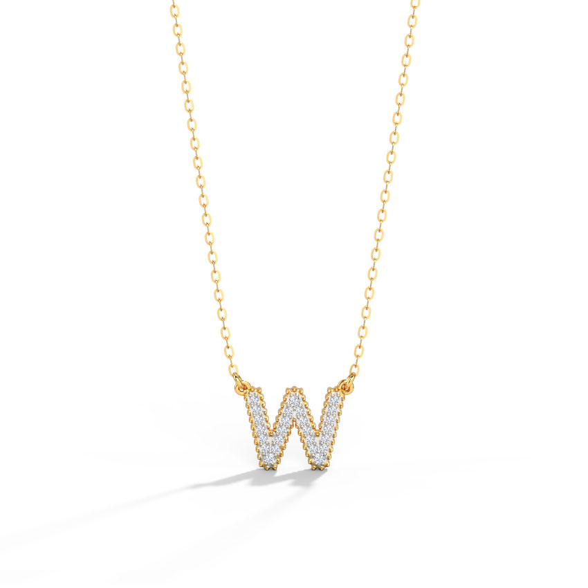 Dazzle Alphabet W Necklace