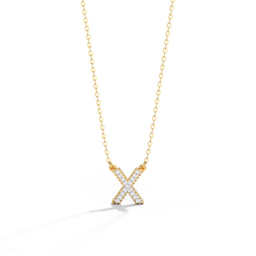 Dazzle Alphabet X Necklace