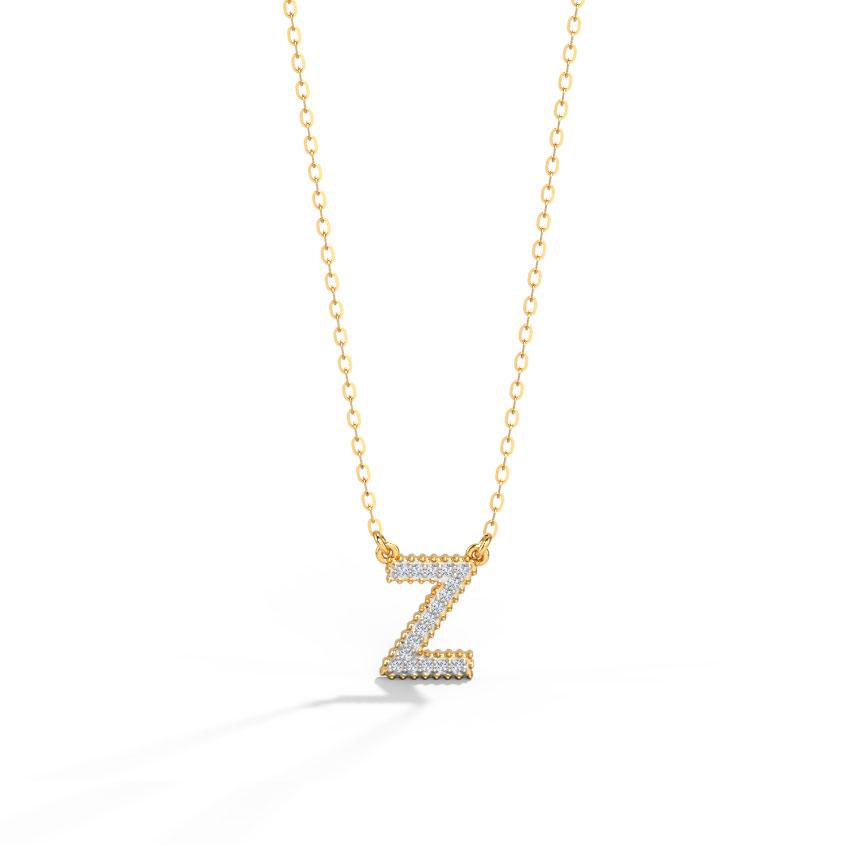 Diamond Necklaces 14 Karat Rose Gold Dazzle Alphabet Z Diamond Necklace