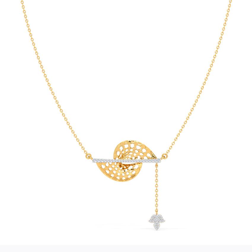 Diamond Necklaces 14 Karat Yellow Gold Emery Ornate Diamond Necklace