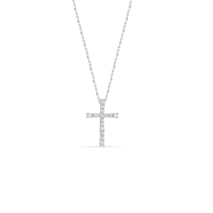 Diamond Necklaces 14 Karat White Gold Precious Cross Diamond Necklace