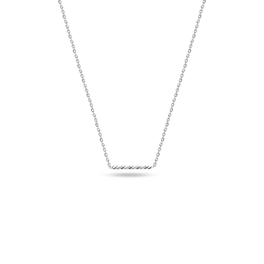 Diamond Necklaces 14 Karat White Gold Linear Bar Diamond Necklace