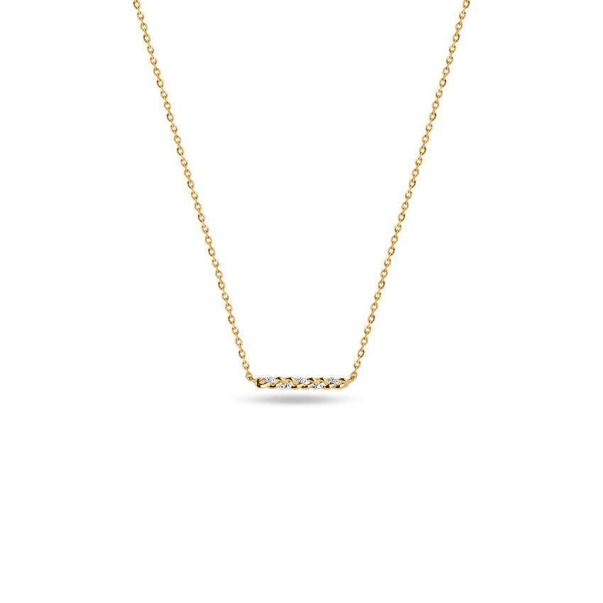 Diamond Necklaces 14 Karat Yellow Gold Petite Bar Diamond Necklace