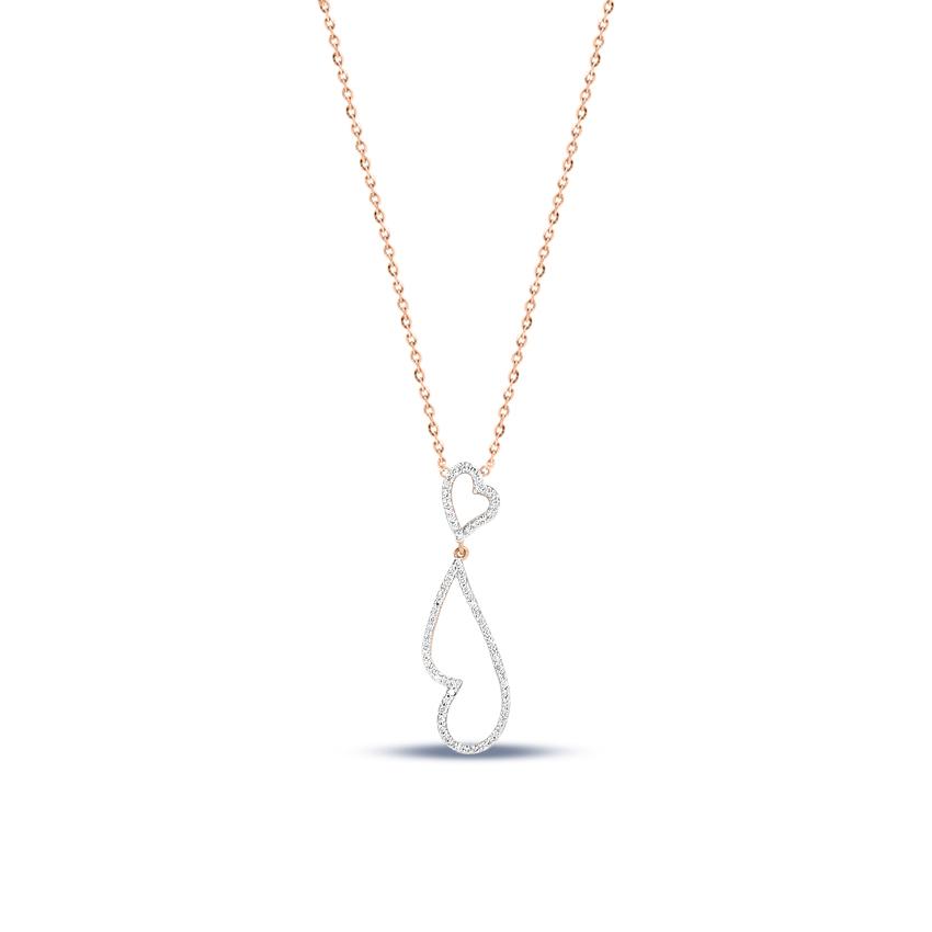 Diamond Necklaces 14 Karat Rose Gold Amore Diamond Necklace