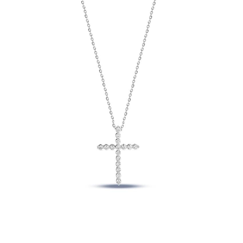 Diamond Necklaces 14 Karat White Gold Shimmer Cross Diamond Necklace