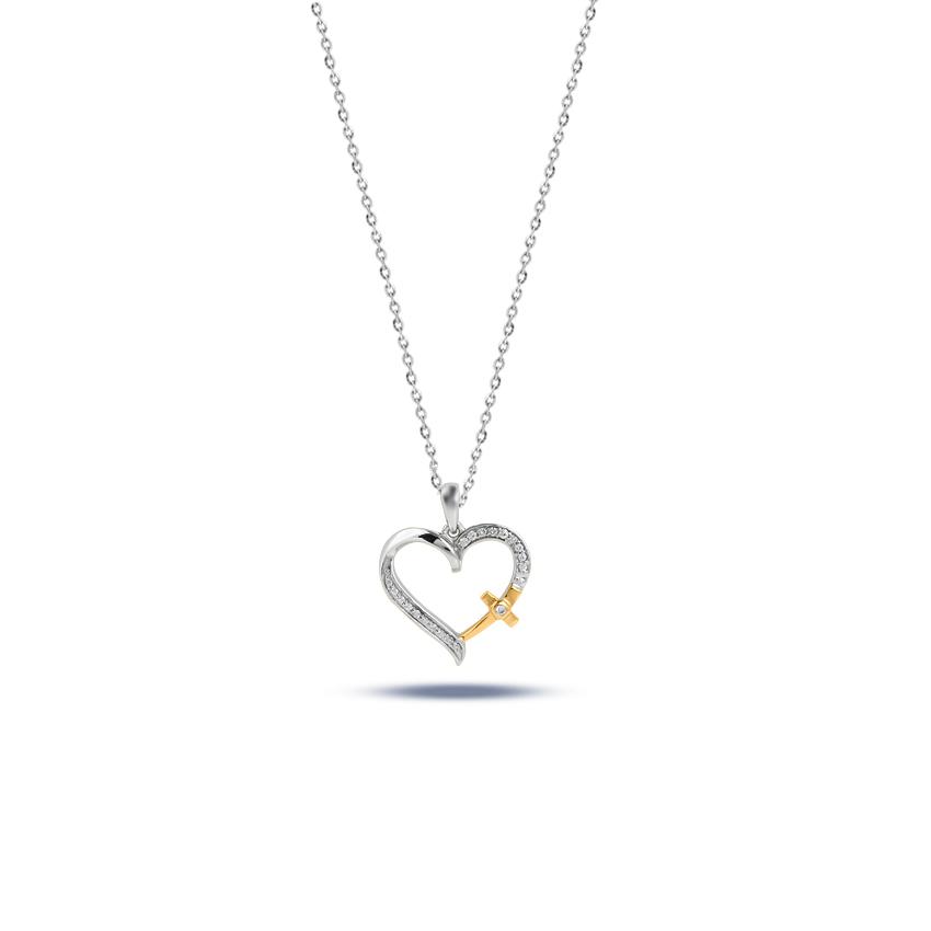 Diamond Necklaces 14 Karat Two Tone Gold Cross Love Diamond Necklace