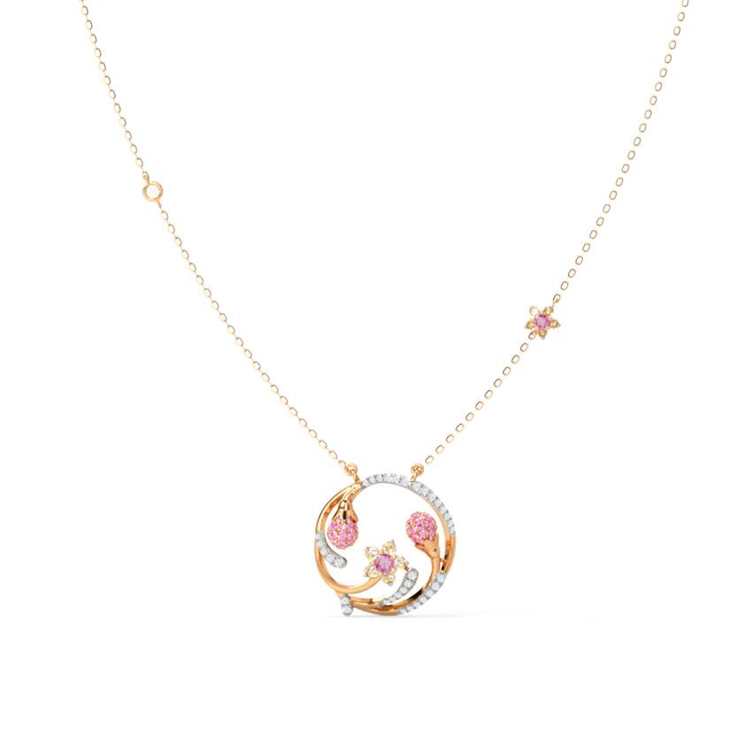 Diamond,Gemstone Necklaces 14 Karat Rose Gold Enchanting Sakura Gemstone Necklace
