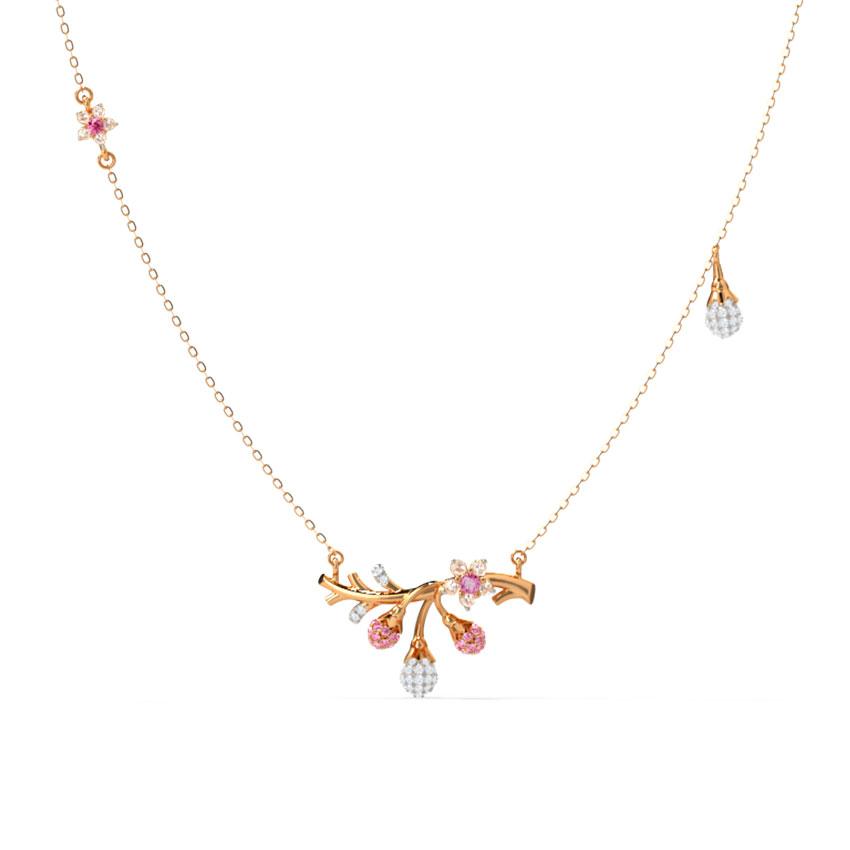 Diamond,Gemstone Necklaces 14 Karat Rose Gold Winsome Sakura Gemstone Necklace