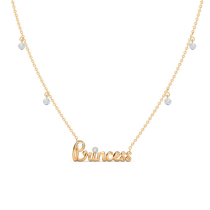 Diamond Necklaces 14 Karat Rose Gold Vogue Princess Diamond Necklace