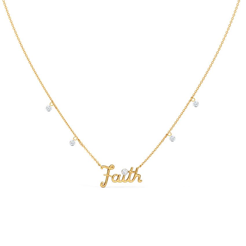 Diamond Necklaces 14 Karat Yellow Gold Stylish Faith Diamond Necklace