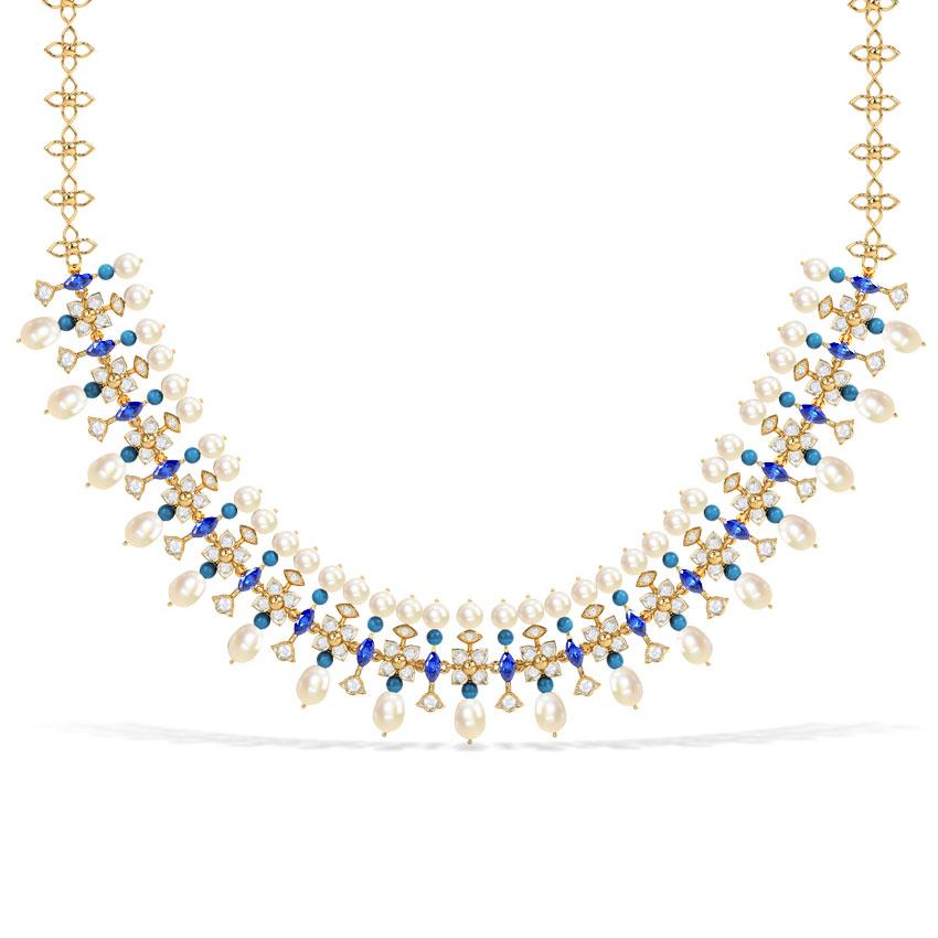 Diamond,Gemstone Necklaces 18 Karat Yellow Gold Zerah Majestic Gemstone Necklace