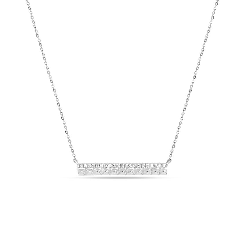 Diamond Necklaces 14 Karat White Gold Splendid Diamond Bar Necklace