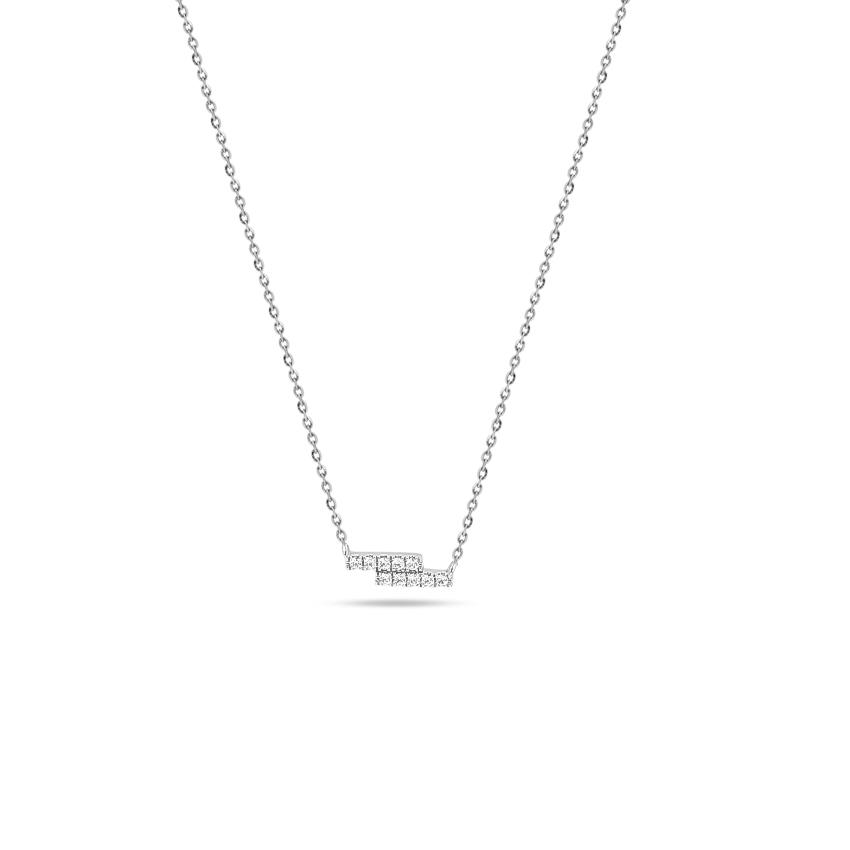 Diamond Necklaces 14 Karat White Gold Duo Diamond Bar Necklace