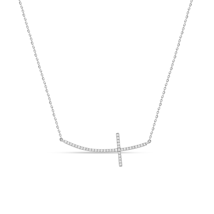 Diamond Necklaces 14 Karat White Gold Stylish Cross Necklace