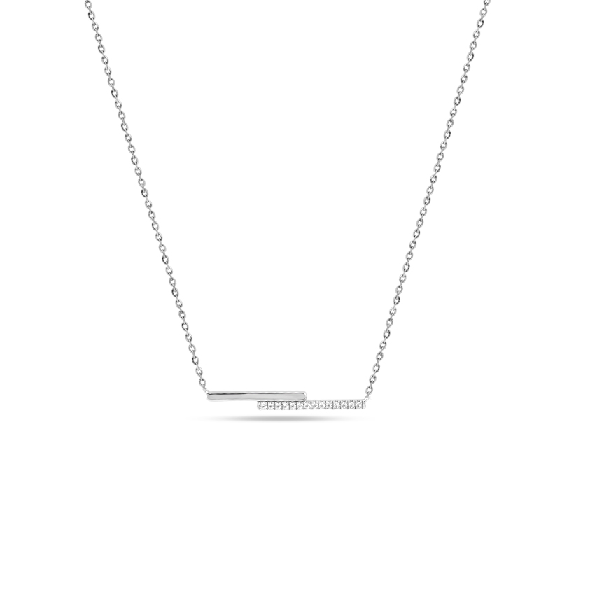 Diamond Necklaces 14 Karat White Gold Twin Bar Diamond Necklace