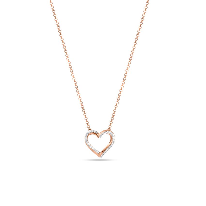 Diamond Necklaces 14 Karat Rose Gold Duo Heart Diamond Necklace