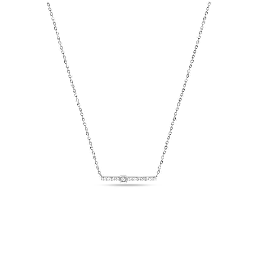 Diamond Necklaces 14 Karat White Gold Fiery Diamond Bar Necklace