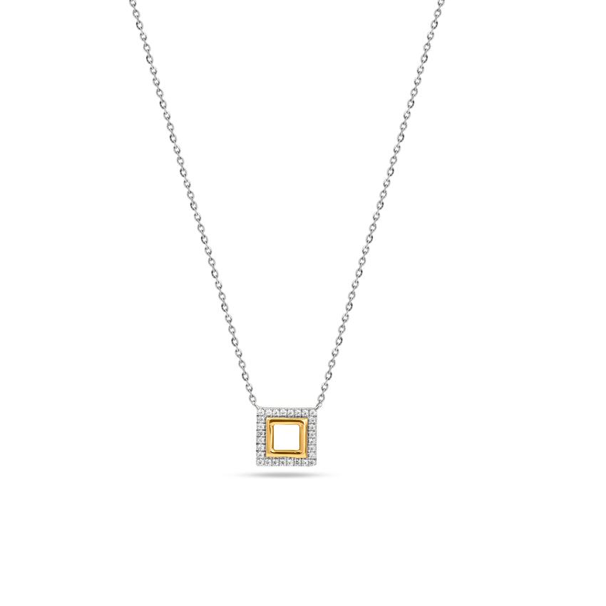 Diamond Necklaces 14 Karat Two Tone Gold Jovial Quad Diamond Necklace