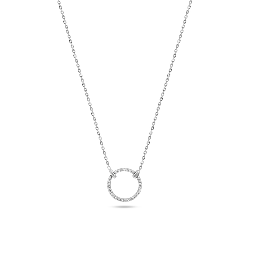 Diamond Necklaces 14 Karat White Gold Blissful Circle Diamond Necklace