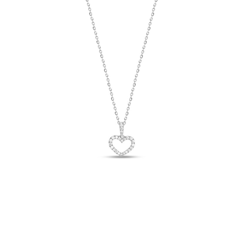 Diamond Necklaces 14 Karat White Gold Delightful Heart Diamond Necklace