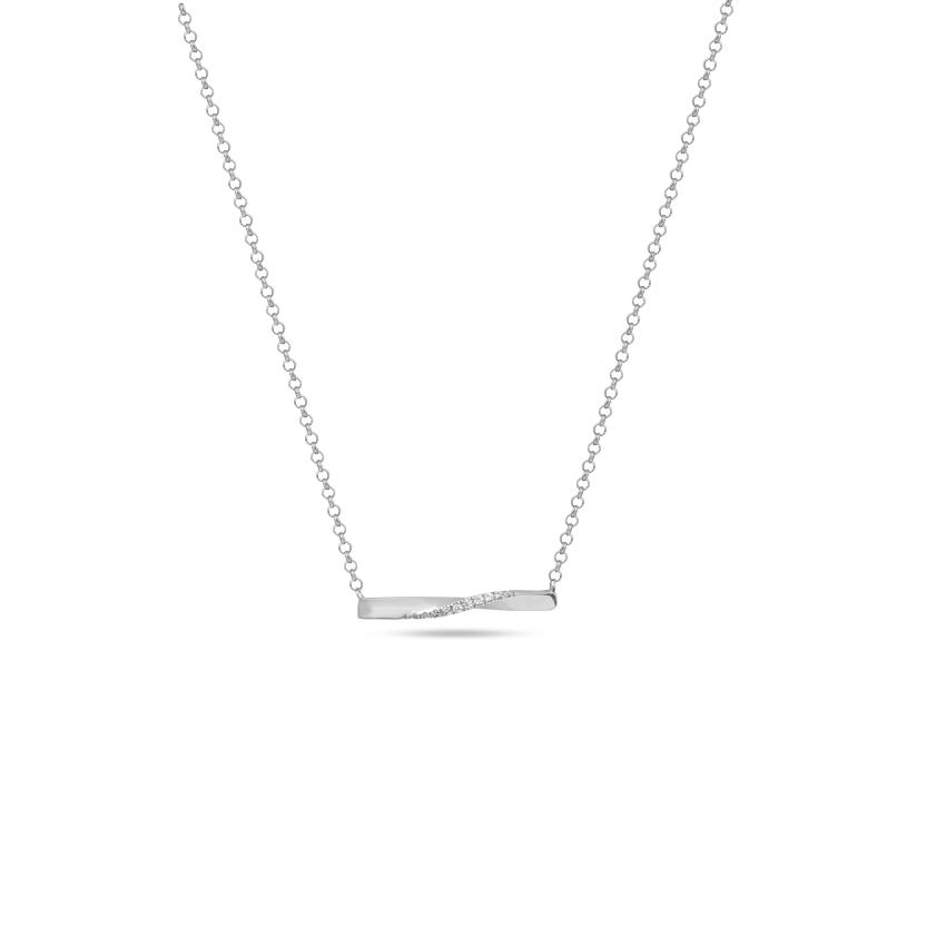 Diamond Necklaces 14 Karat White Gold Gleaming Twisted Diamond Bar Necklace