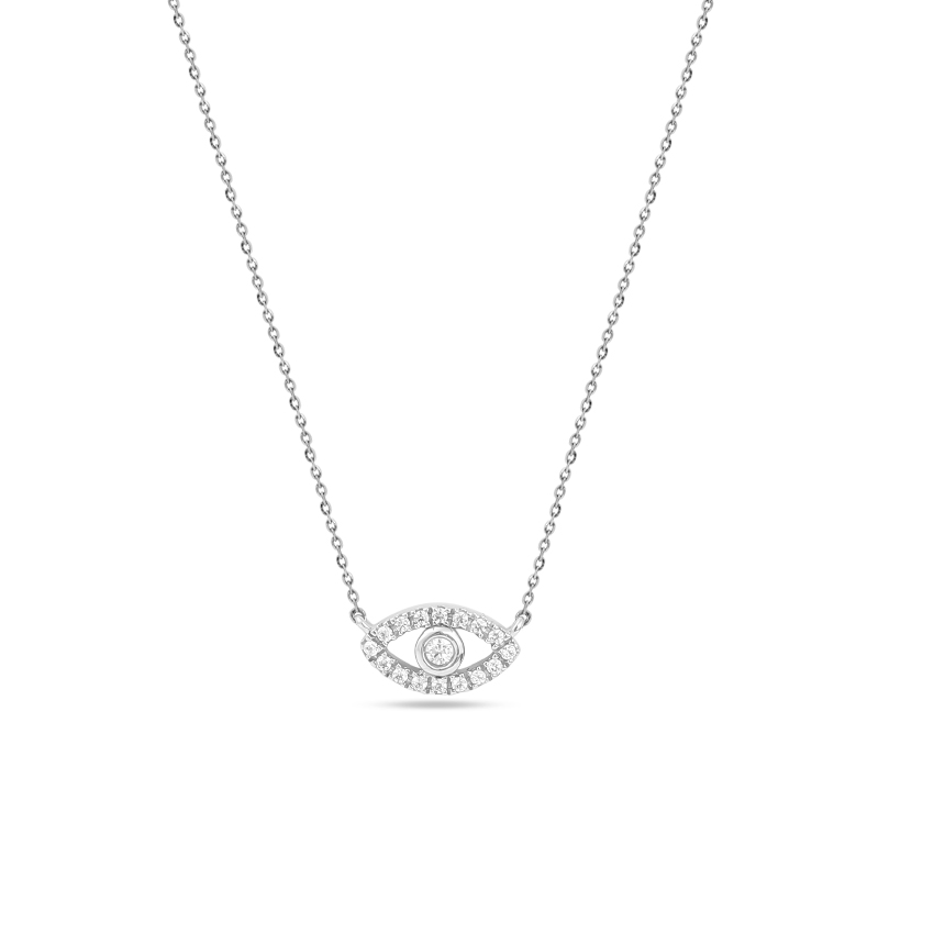 Diamond Necklaces 14 Karat White Gold Shining Evil Eye Necklace