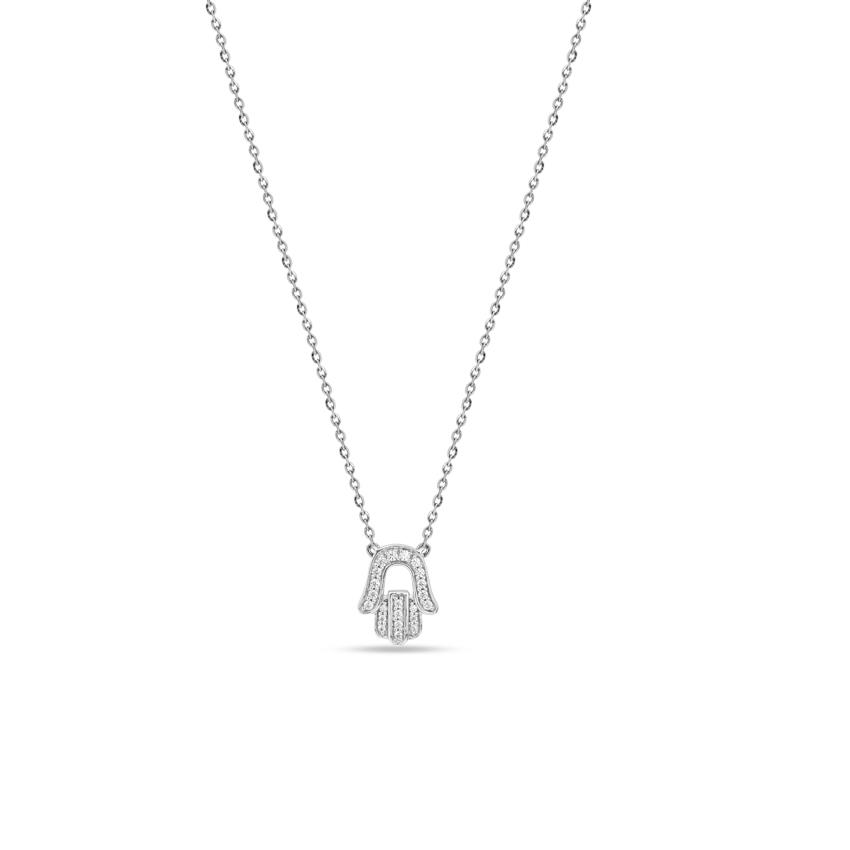 Diamond Necklaces 14 Karat White Gold Hamsa Diamond Necklace