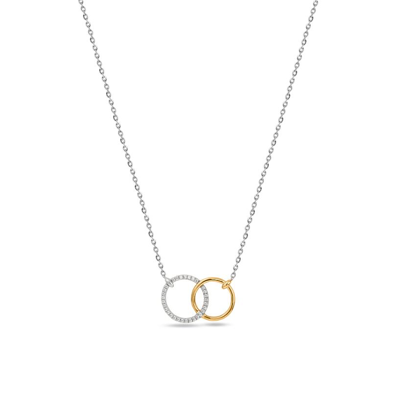 Diamond Necklaces 14 Karat Two Tone Gold Couplet Circular Necklace