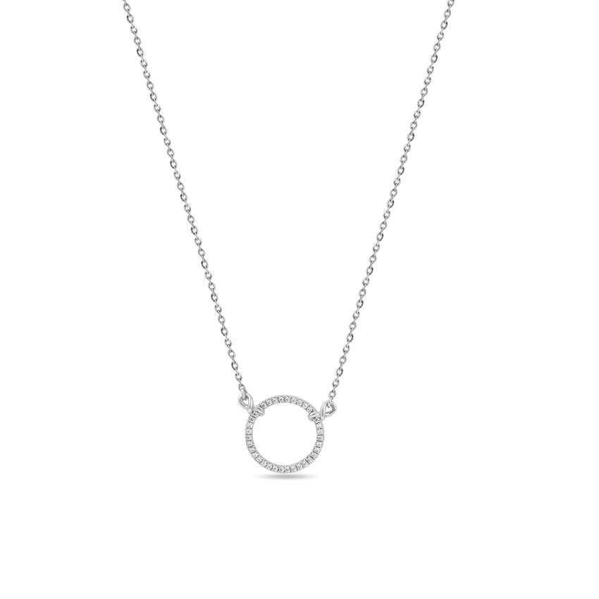 Diamond Necklaces 14 Karat White Gold Entwined Sparkling Diamond Necklace