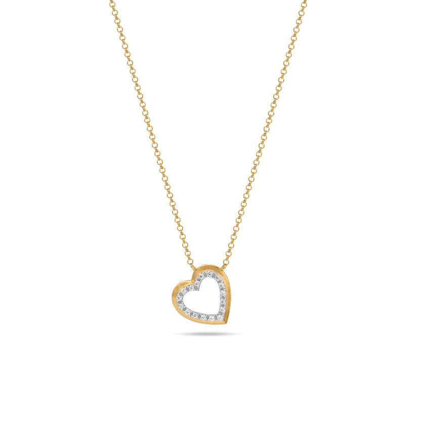 Diamond Necklaces 14 Karat Yellow Gold Gleaming Heart Diamond Necklace