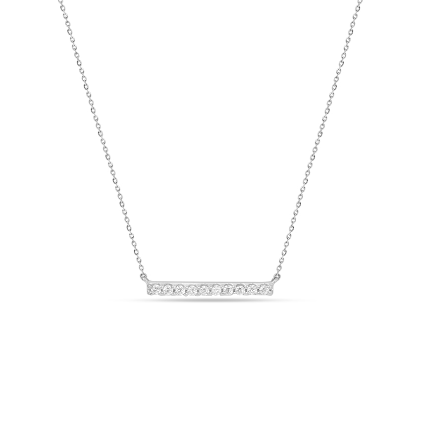 Diamond Necklaces 14 Karat White Gold Pleasant Diamond Bar Necklace
